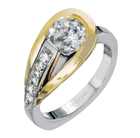 14K white gold engagement ring; by Ancora Set with:     -Center: CZ     -accented with round brilliant cut side diamonds; 0.16 carat total weight; G/H; VS-SI