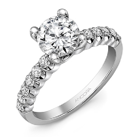 14KW Diamond engagement ring set with: - - 12 RBC diamonds; 0.38cttw; G/H; SI very good cut