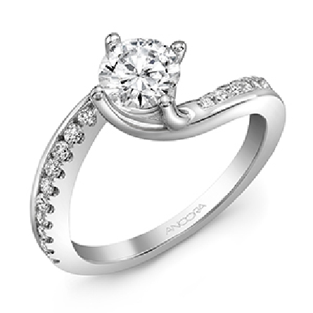 14KW diamond engagement ring set with: - 0.75ct CZ - 20 RBC diamonds; 0.29cttw; G/H; SI very good cut