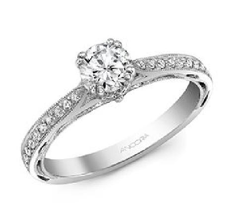 14K white gold ring - 0.50ct CZ - 18=0.15cttw Diamonds - G/H SI VG cut