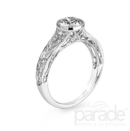 18 karat white gold engagement ring; known as   Hera Bridal   by Parade Designs. - Set with Cubic Ziconia center. - Accented with 14 very good cut side diamonds; G/H; SI; 0.12 carat total weight.