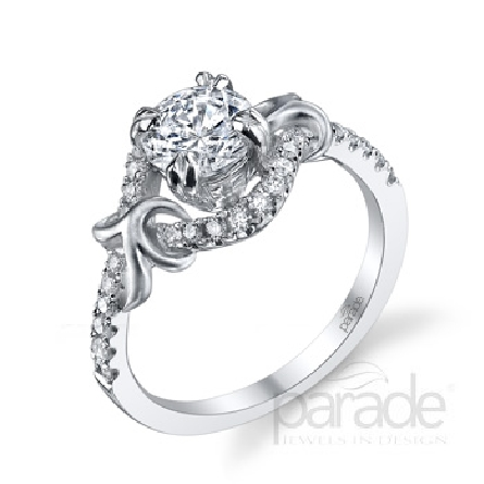 18 karat white gold engagement ring; part of the Lyria Bridal Collection by Parade Design. Set with CZ center. Accented with 30 very good cut diamonds; 0.29 carat total weight; SI; G/H.
