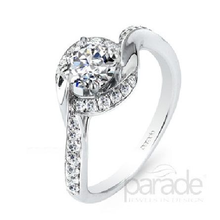 18 karat white gold engagement ring; part of the Hemera Bridal Collection by Parade Designs. - Set with CZ Center. - Accented with 26 very good cut diamonds; 0.27 carat total weigh; SI; G/H.
