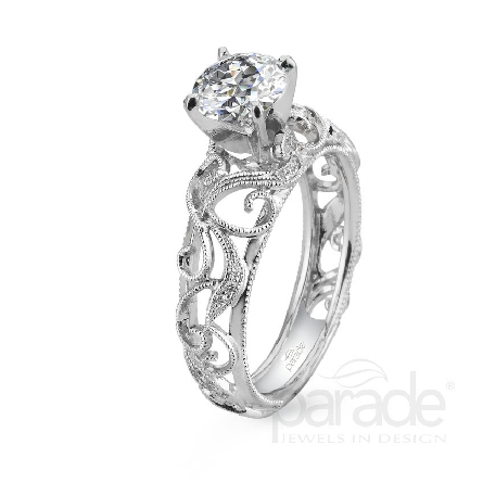 18 karat white gold engagement ring; part of the Hera Bridal Collection by Parade Designs. - Set with CZ Center. - Accented with 22 very good cut diamonds; 0.09 carat total weight; G/H; SI.