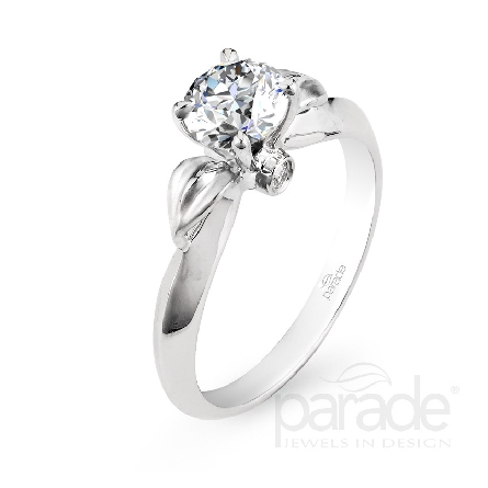 18 karat white gold engagement ring; known as   Lyria Leaves   and part of the Lyria Bridal Collection by Parade Designs. Set with CZ Center. Accented with 2 very good cut diamonds; 0.03 carat total weight; G/H; SI.