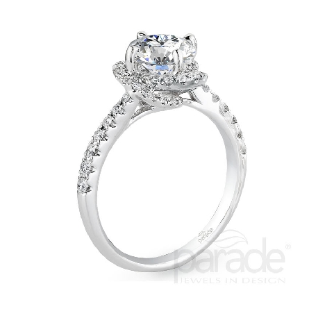 18 karat white gold engagement ring; part of the Hemera Bridal Collection by Parade Design.  Set with CZ Center. Accented with 60 very good cut diamonds; 0.38 carat total weight; G/H; SI.
