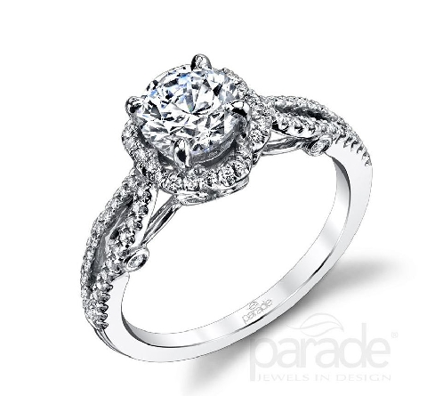 18 karat white gold engagement ring; known as   Hemera Bridal   by Parade Designs. - Set with Cubic Ziconia center. - Accented with round brilliant cut diamonds; 0.30 carat total weight; G/H VS-SI