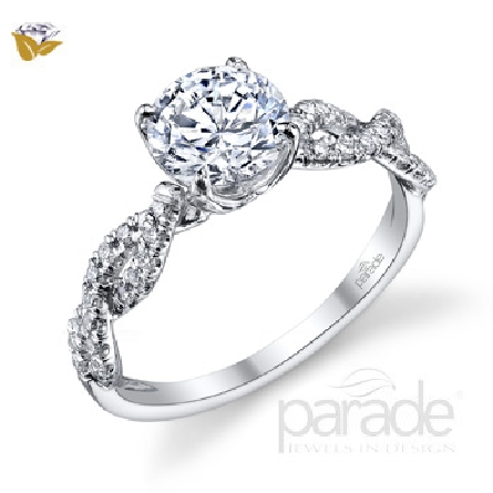 18 karat White gold Diamond Engagement ring by Parade -  set with: - - 36 diamonds = 0.28 cttw SI-VS G-H; Very Good cut - - 1 ct CZ centre