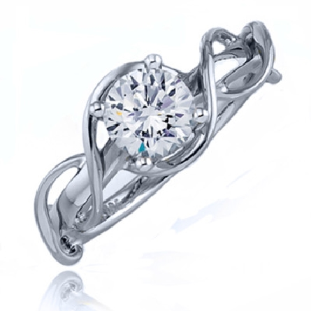 14K white gold diamond engagement ring by Frederic Sage set with:   - 0.50ct CZ center