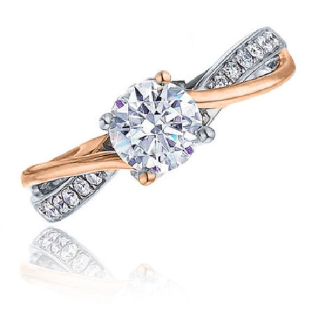 14 Karat white gold diamond engagement ring by Frederic Sage set with: - 0.50 carat CZ - 14*=0.11 cttw diamonds