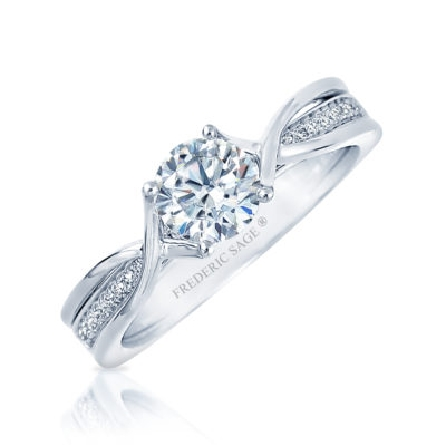 14KW diamond engagement ring by Frederic Sage set with: - - 0.75ct CZ  - - 24 RBC diamonds; 0.09cttw; G/H; VS-SI