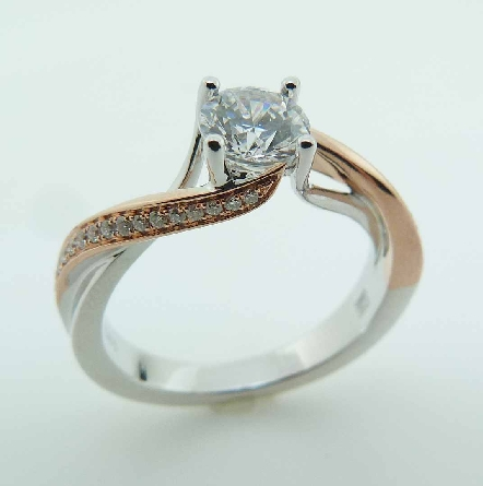 14KWR diamond engagement ring by Frederic Sage set with: - 0.50ct CZ - 32 RBC diamond; 0.11cttw; G/H; VS-SI