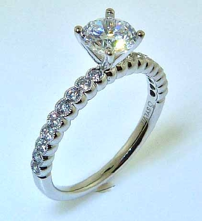 14KW Sylvie Collection engagement ring set with: - - 0.75ct CZ - - 0.30cttw RBC diamonds; G/H; VS-SI