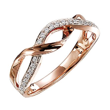 14K Rose gold ladies diamond band set with 26 diamonds totalling 0.12 carats