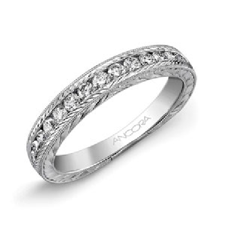 14K white gold ladies band by Ancora set with: -  -  - 18*-0.40cttw diamonds