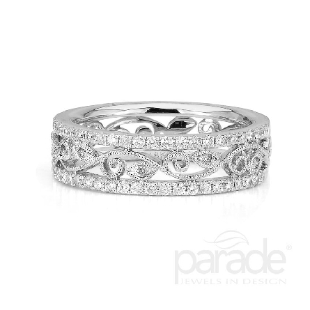 18 karat white gold band; part of the Lyria Leaves Collection by Parade Designs. - Set with 51 very good cut diamonds; 0.33 carat total weight; G/H SI. - 5.7 mm.