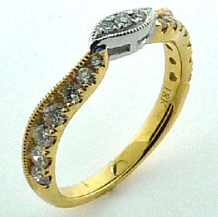 18KYW ladies band by Parade Design to match R3521 set with: - - 17 round brilliant cut diamonds; 0.48 cttw; G/H; SI