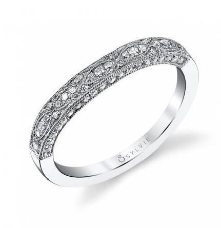 18K white gold wedding band by Sylvie collection set with -round brilliant cut diamonds totalling 0.24carats SI-VS; G+