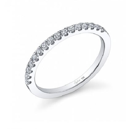 18K White gold engagement ring known as;   Classic Prong Set Diamond Wedding Band  ; by Sylvie Collection Set with  -accented with round brilliant cut diamonds; 0.27 carat total weight; G+; SI/VS.