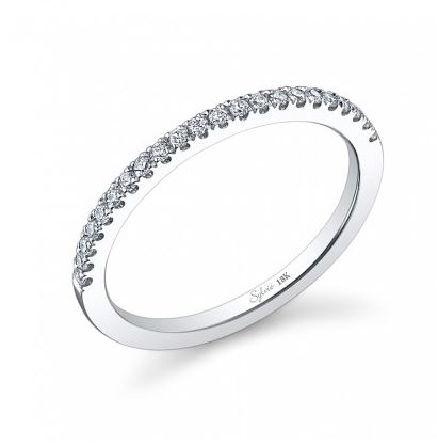 18K White gold engagement ring known as;   Classic Round Brilliant Wedding Band  ; by Sylvie Collection - Set with  - -accented with round brilliant cut diamonds; 0.14 carat total weight; G+; SI/VS.