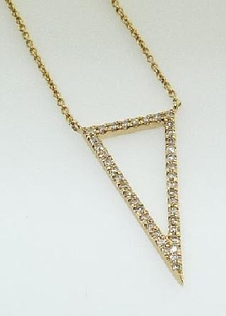 14K Yellow gold trianlge diamond pendant by Natalie K Pave set with single cut diamonds: 40 diamonds =0.15 total carat weight; H/I; SI