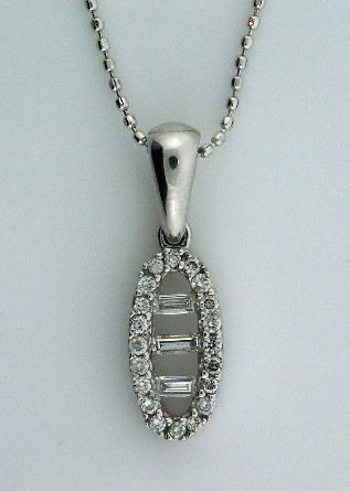 Diamond Pendant by Natalie K - on 16   Chain -  - 0.25cttw SI; round brilliant cut diamonds and 3 baguettes - 14K White Gold -