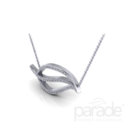 Diamond Leaf pendant by Parade - 14K white gold - 18   chain - -Pave set with 49 round brilliant cut diamonds totalling 0.13carats Si1-VS2; G-H.