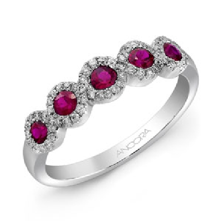14K white gold ladies band set with: - -5 rubies totalling 0.48 carats - -59 diamonds totalling 0.18 carats