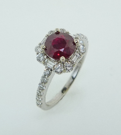 14K white gold ring - 1.25ct Ruby - 4=0.18cttw Baguettes - 20=0.50cttw RBC Diamonds - G/H SI VG cut