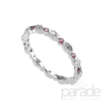 18 karat white gold coloured gemstone band; part of the Charities Collection by Parade Designs. Set with 6 rubies; 0.20 carat total weight. Accented with 6 diamonds; 0.06 carat total weight; G/H SI