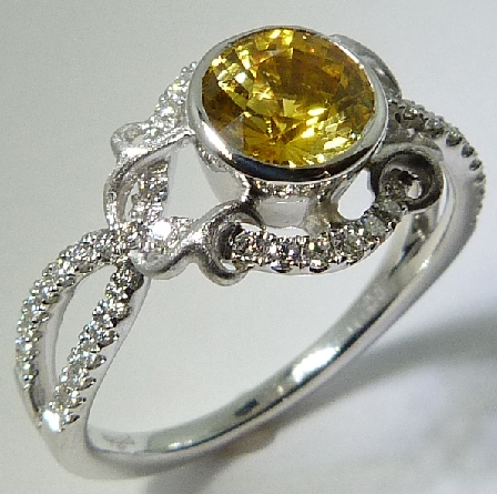 18K white gold - Lyria Bridal - 54* = 0.27ctw - 1.08ct Yellow Sapphire - size 6