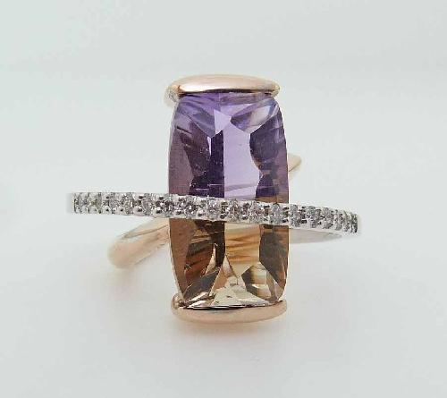 14KWR CG ring by Studio Tzela set with: - - 8.98ct concave cut; antique cushion Ametrine  - - 18 RBC diamonds; 0.20cttw; H/I; SI2