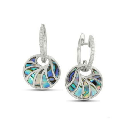 14KW Venus earrings by Frederic Sage set with: - abalone  - 26 RBC diamonds; 0.16cttw; G/H; VS-SI