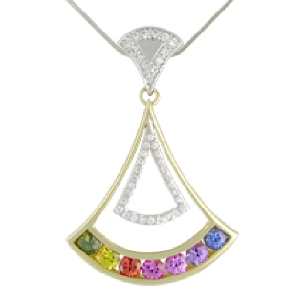 14 karat white gold coloured gemstone pendant by Rainbow Sapphire. Set with 7 intense coloured Sapphires; 0.95 carat total weight. Accented with diamonds; 0.15 carat total weight.