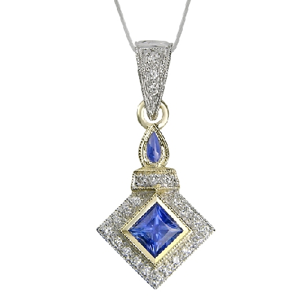 14 karat white and yellow gold; hand engraved; coloured gemstone pendant by Rainbow Sapphire. - Set with a Blue Sapphire; 0.90 carat. - Accented with diamonds; 0.07 carat total weight.