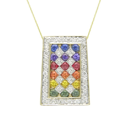 14 karat white gold colourd gemstone pendant. Set with Intense coloured Sapphires; 0.80 carat total weight; 2mm. Accented with diamonds; 0.26 carat total weight.