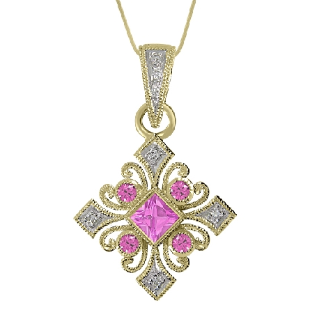 14 karat white gold hand engraved pendant by Rainbow Sapphire. Set with 1 princess cut and 4 round faceted pink sapphires; 0.40 carat total weight. -accented with 7 pave set round brilliant cut diamonds; 0.04 carat total weight; SI1-SI2; G/H