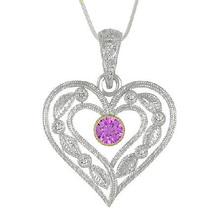 14 karat white and yellow gold hand engraved pendant by Rainbow Sapphire. - Set with 2 round faceted pink sapphires; 0.25 carat total weight - Accented with 9 round brilliant cut diamonds; 0.07 carat total weight; SI1-SI2; G/H.