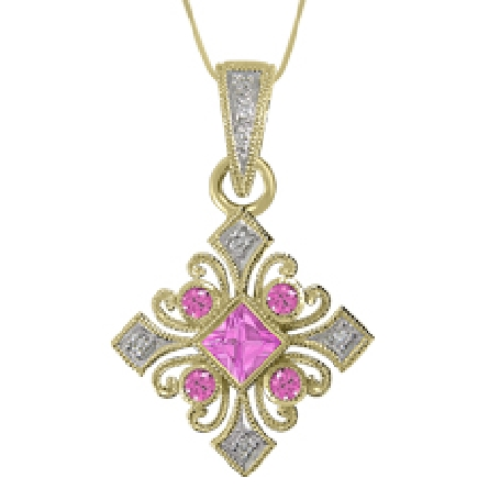 14 Karat white gold pendant; set with princess and round pink sapphires weighing 0.37 carat total weight and 0.04 carat total weight of pave set round diamonds.
