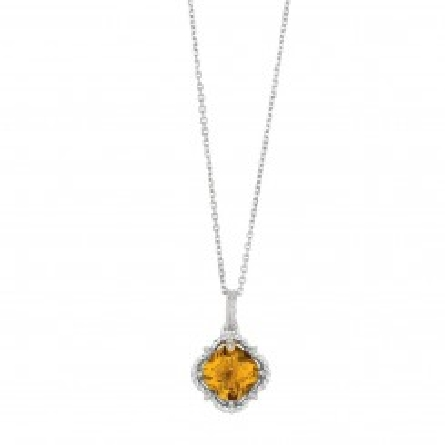 Sterling silver and 18KY gold pendant and chain set with:   - 14 mm Whiskey quartz   - 0.1ct diamond