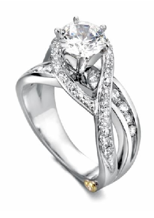 Bedazzle  by Mark Schneider  - Sterling silver mount set with 0.665ctw CZ s to fit 1 carat centre