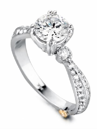 Cherish  by Mark Schneider - Sterling silver mount set with 59 CZ s; 0.445ctw to fit 1 carat