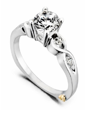 Yours Truly  by Mark Schneider - Sterling silver mount set with 0.165ctw CZ s to fit 0.50 carat