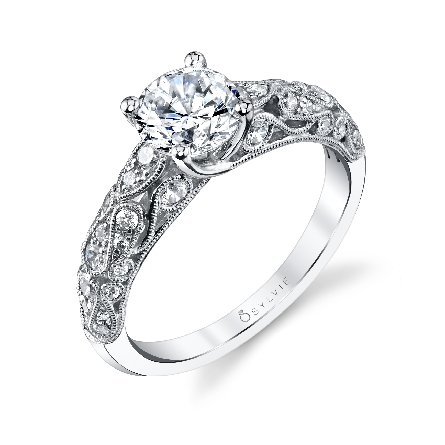 Platinum engagement ring; by Sylvie Collection; to set a 3/4 ct - -accented with 26 round brilliant cut diamonds; 0.40 carat total weight; G+; SI/VS.