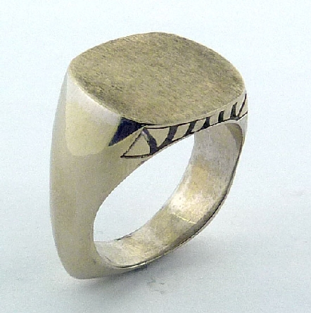 14K White Gold - Men s signet ring - Solid top with engraved sides. - Made by Troy Shoppe Jewellers