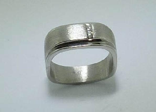 14K white gold men s diamond band. Two diamonds total 0.051 carats; SI1-2; H.