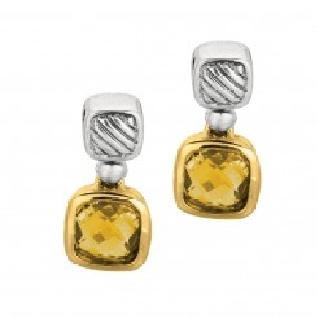 18k Yellow Gold & Sterling Silver Oxidized Citrine Drop Earring. Phillip Gavriel  Italian Cable  Collection.
