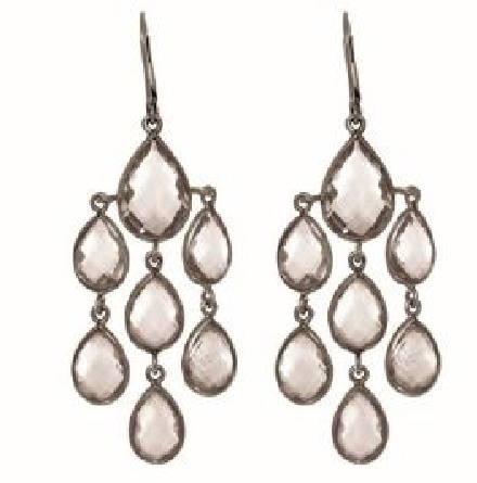 Sterling Silver with Black Finish Shiny Fancy Drop Earring with 20-Oval Shape Rock Crystal    Stone Collection