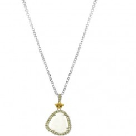 Phillip Gavriel 18k Yellow Gold & Sterling Silver Briollette Green Amethyst and Peridot Pendant on 18   cable link chain