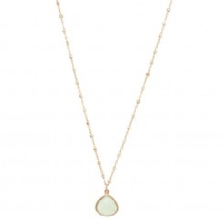 Phillip Gavriel Collection Sterling Silver 18  Rose Finish Cable and Bead Chain with Blue Chalcedony Checker Teardrop Pendant